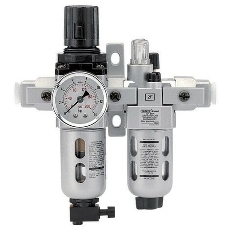 "Draper 24326 1/4"" BSP Combined Filter/Regulator/Lubricator Unit (FRL)"