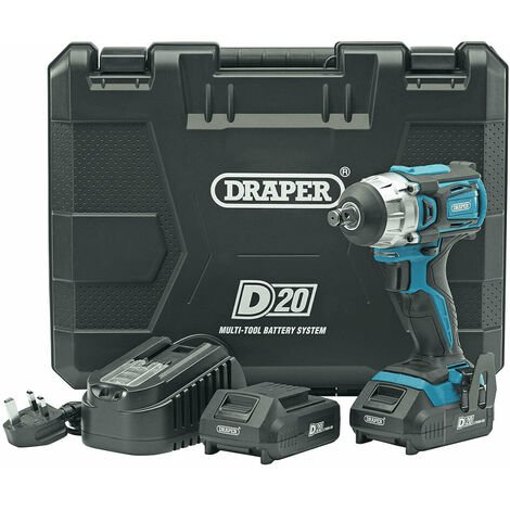 """Draper 55343 D20 20V Brushless 1/2"""" Mid-Torque Impact Wrench with 2x 2.0Ah Batteries"""