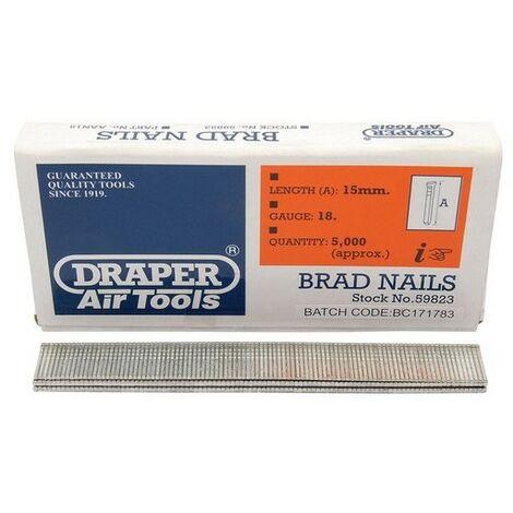 Draper 59823 15mm Brad Nails (5000)
