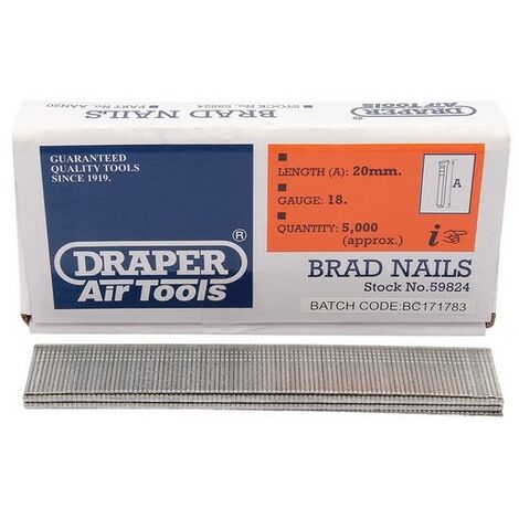 Draper 59824 20mm Brad Nails (5000)