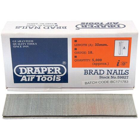 Draper 59827 32mm Brad Nails (5000)