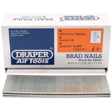 Draper 59830 40mm Brad Nails (5000)
