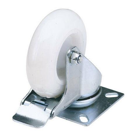 Draper 65504 100mm Dia. Swivel Plate Fixing Nylon Wheel with Brake - S.W.L. 125Kg