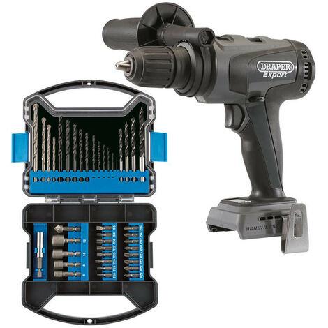 Draper 66251 XP20 Brushless Combi Drill 135MN (Bare) + Drill Bit and Accessory Kit (41 Piece)