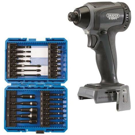 Draper 67660 XP20 Brushless Impact Driver 200Nm (Bare) + Screwdriver Bit Set (26 Piece)