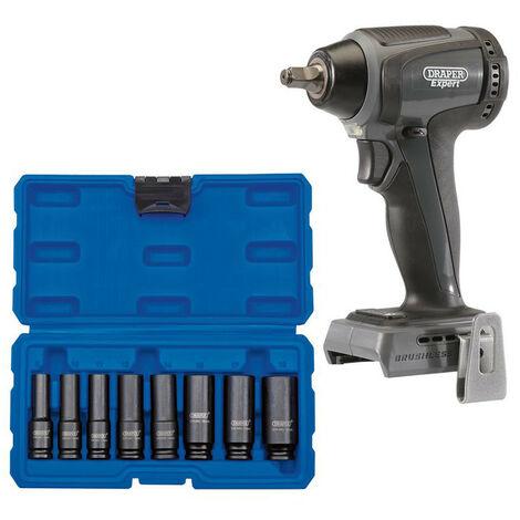 "Draper 68662 XP20 Brushless 3/8"" Impact Wrench 250Nm (Bare) + Socket Set (8 Piece)"
