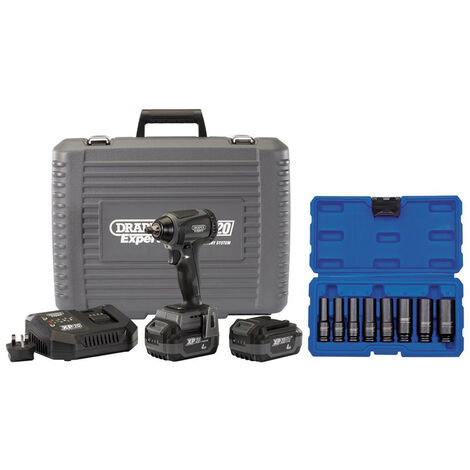 """Draper 68827 XP20 Brushless 3/8"""" Impact Wrench 250Nm + 2x 4Ah Batteries and Fast Charger + Socket Set (8 Piece)"""