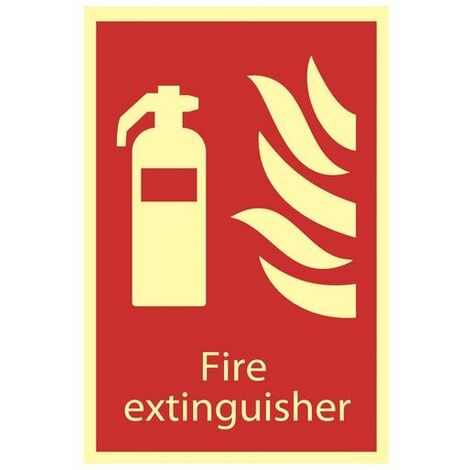 Draper 72598 Glow In The Dark 'Fire Extinguisher' Fire Equipment Sign