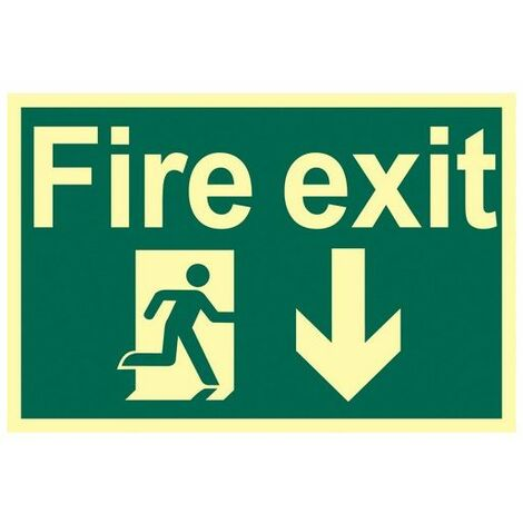 Draper 72600 Glow In The Dark 'Fire Exit Arrow Down' Safety Sign