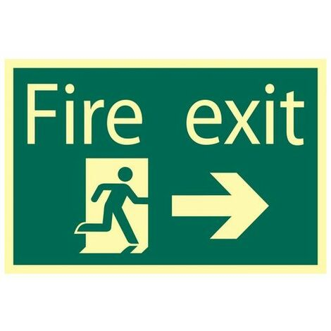 Draper 72662 Glow In The Dark 'Fire Exit Arrow Right' Safety Sign