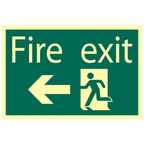 Draper 72721 Glow In The Dark 'Fire Exit Arrow Left' Safety Sign