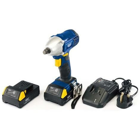 """Draper 83995 18V Cordless 1/2"""" Sq. Dr Impact Wrench with 2 x Li-ion Batteries and Charger"""