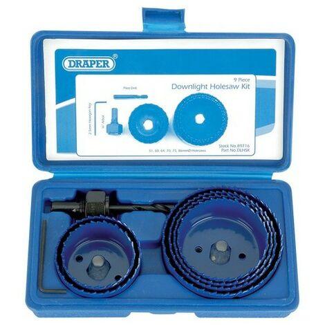 Draper 89716 9 Piece Holesaw Kit for Downlights