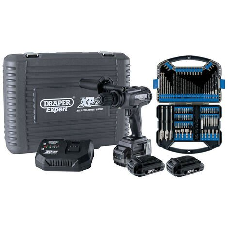 Draper 93076 XP20 Brushless Combi Drill 135Nm + 3x 2Ah Batteries and Fast Charger + Drill Bit Accessory Kit (101 Piece)