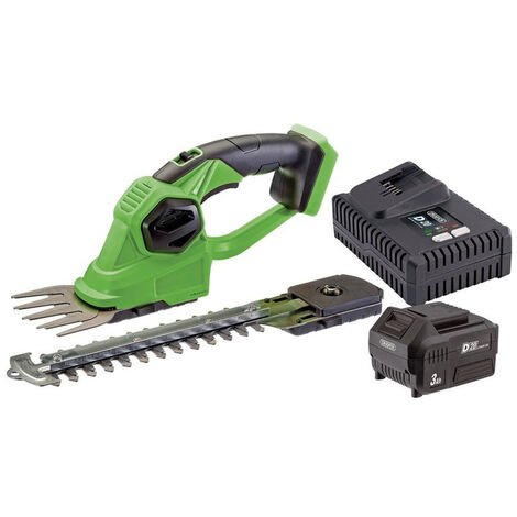Draper 94594 D20 20V 2-in-1 Grass and Hedge Trimmer with Battery and Fast Charger