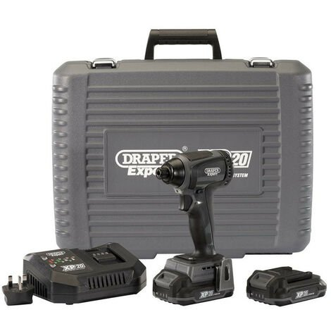 "Draper 98964 XP20 20V Brushless 1/4"" Impact Driver with 2x 2.0Ah Batteries"
