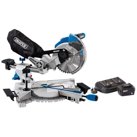 Draper 99970 D20 20V Brushless 185mm Sliding Compound Mitre Saw with 5Ah Battery And Twin Charger