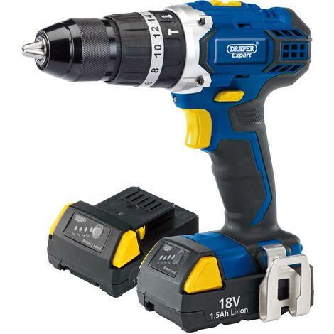 Draper EXPERT 18V CORDLESS COMBI HAMMER DRILL WITH TWO LI-ION BATTERIES 83685
