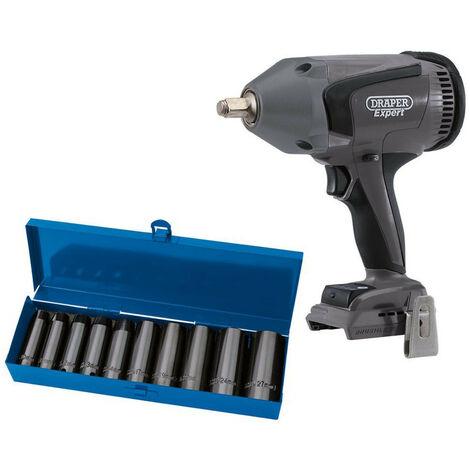 "Draper Expert 67694 XP20 Brushless 1/2"" Impact Wrench 1000Nm (Bare) + Socket Set (10 Piece)"