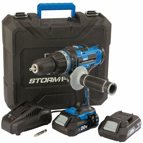 Draper Stormforce® 20V Combi Drill with 2 x 2.0Ah batteries and charger