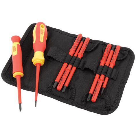 Draper Tools Jeu de tournevis et lame isolés VDE 10 pièces 05721
