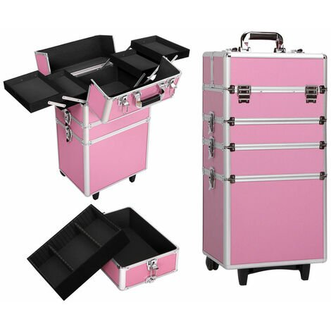 Draw-bar 4-in-1 Style Interchangeable Aluminum Rolling Makeup Case Pink