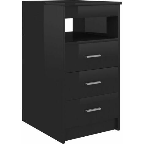 Drawer Cabinet Hign Gloss Black 40x50x76 cm Chipboard