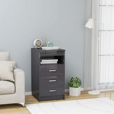 Drawer Cabinet Hign Gloss Grey 40x50x76 cm Chipboard - Grey