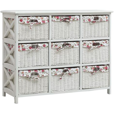 Drawer Cabinet with Nine Baskets White Wood