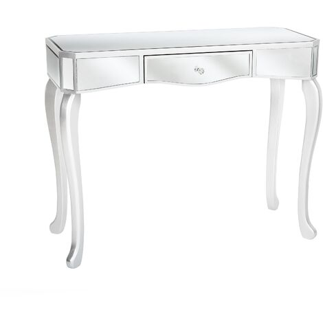 Drawer Console Table Mirror Effect Silver CARCASSONNE