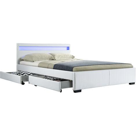 DRAWER NIGHT LIT PU BLANC MAT A LED + 4 TIROIRS 140X190 CM - Blanc