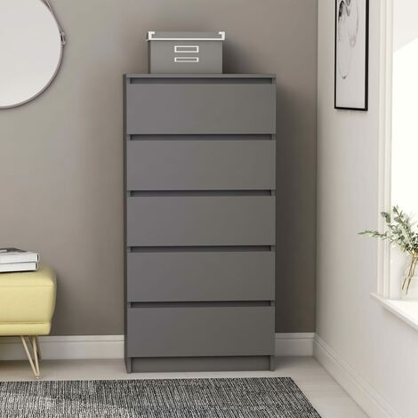 Drawer Sideboard Grey 60x35x121 cm Chipboard