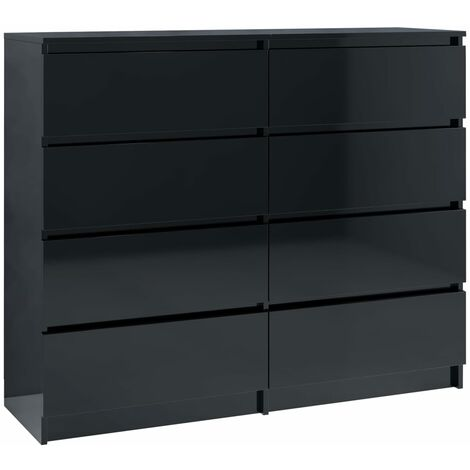 Drawer Sideboard High Gloss Black 120x35x99 cm Chipboard