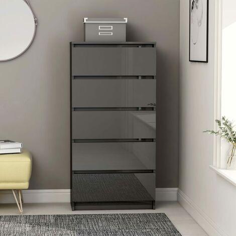 Drawer Sideboard High Gloss Grey 60x35x121 cm Chipboard - Grey