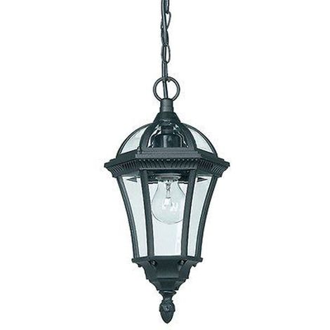 Drayton 1 light pendant IP44 60W textured black paint