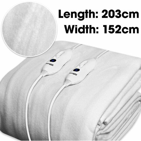 Dreamcatcher King Size Electric Blanket Luxury Polyester, King Size Bed 203 x 152cm Electric Heated Blanket, Fully Fitted Underblanket Mattress Cover 3 Comfort settings, 2 Controllers Machine Washable