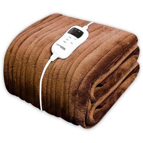 Dreamcatcher Luxury Fleece Heated Washable Electric Blanket Throw, Chocolate Brown, Extra Large Overblanket 160 x 120cm, Timer, 9 Control Settings