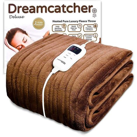 Dreamcatcher Luxury Fleece Heated Washable Electric Blanket Throw, Cream Chocolate Brown, Extra Large 200 x 130cm Overblanket, Timer, 9 Control Settings