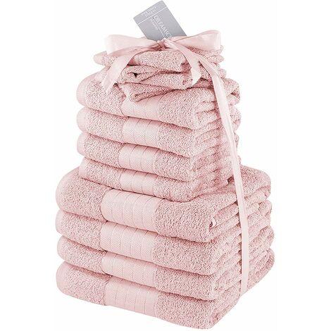 Dreamscene Lot de 12 Serviettes 100% Coton égyptien 500 g/m² Rose