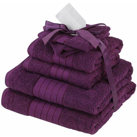Dreamscene Lot de 6 Serviettes 100% Coton égyptien Ultra-Doux Comprenant Serviettes de Bain et Serviettes essuie-Mains Violet