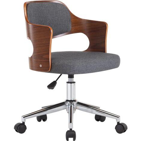 Drehbarer Bürostuhl Grau Bugholz und Stoff