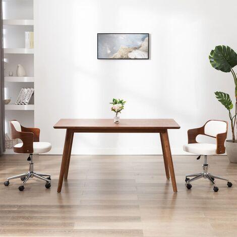 Drehbarer Bürostuhl Weiß Bugholz und Kunstleder