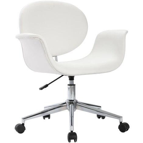 Drehbarer Bürostuhl Weiß Kunstleder