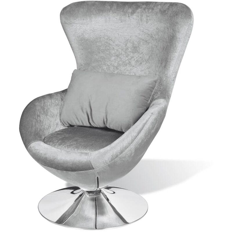 Sessel in Ei-Form Silbern