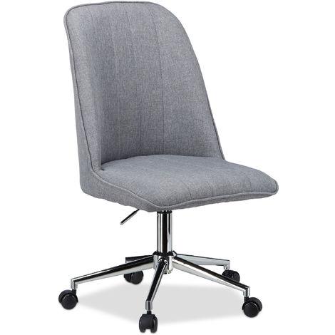 Drehstuhl Grau, Design Bürostuhl, 120 kg belastbar, höhenverstellbarer Bürosessel HBT: 106 x 53 x 52 cm, grey