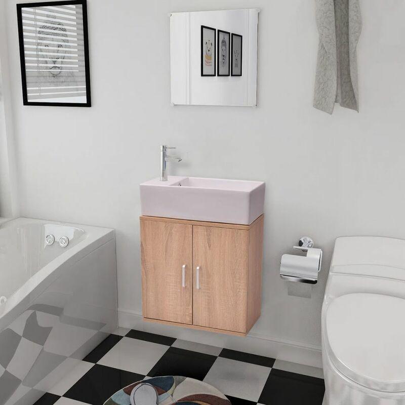 Dreiteiliges Badmöbel-Set mit Waschbecken Beige