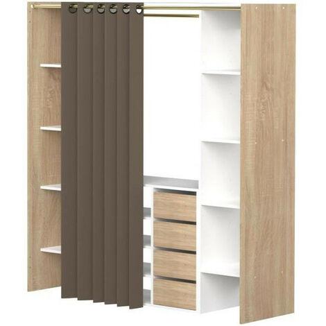 DRESS Kit dressing extensible decor chene + rideau contemporain Taupe - L 112-185 cm