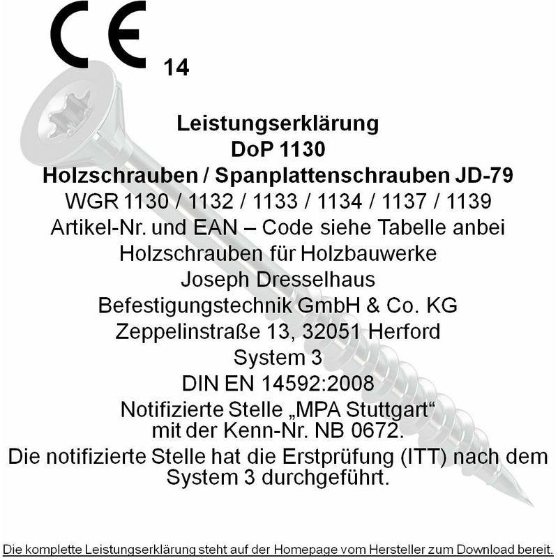 filettatura completa 0//1139//021//   3,0//   25//     //03 testa a stella 10 zincate e galvanizzate 3 x 12 mm nervatura sotto la testa cromatura gialla Dresselhaus JD-79 0//1139//021// 3,0// 12// //03 1000 pz Viti per pannelli truciolari