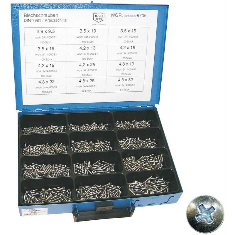 Sortiment-Linsenschrauben DIN 7985 TORX M3 Edelstahl A2 500 Teile