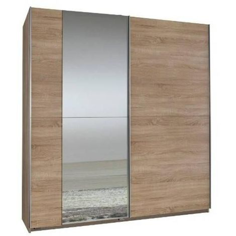 Dressing 2 portes coulissantes 1 miroir FLOYD 179 cm chêne